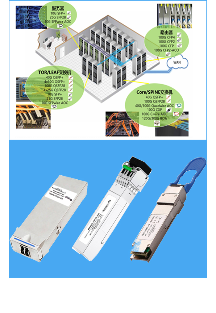 Optical transceivers interconnection